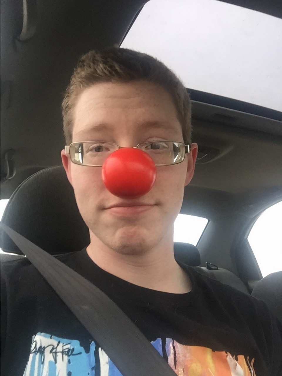 Just me with a red nose