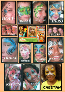 a menu of simply smiles face painting options in denver