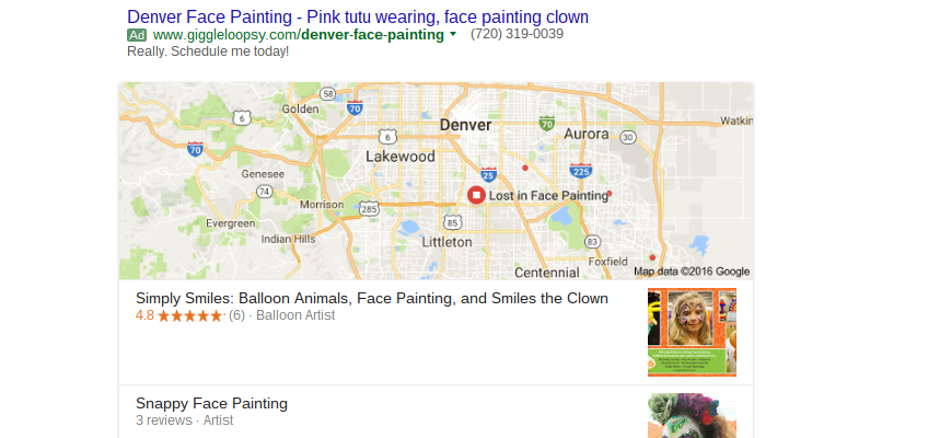 Google search results for Denver face Painting