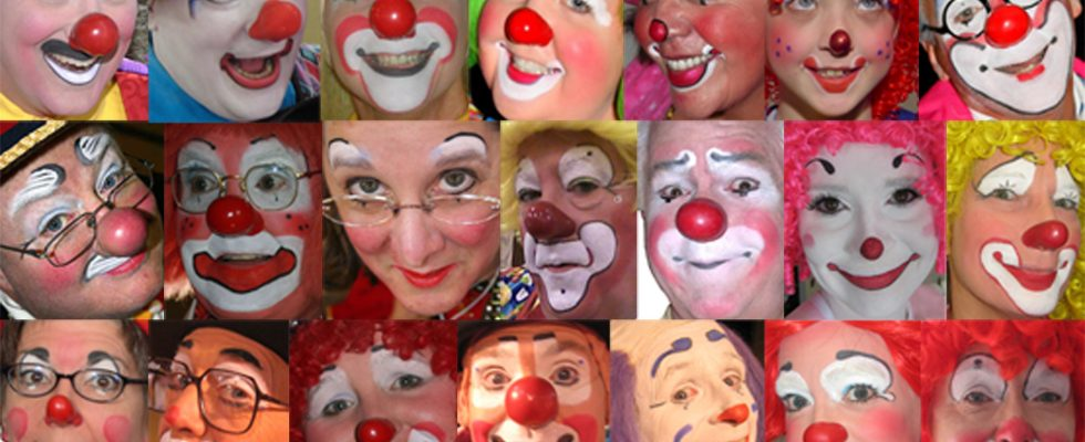 a picture of thirty different clown faces