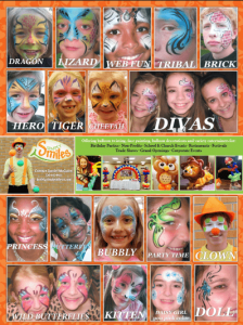 Simply Smiles face painting menu for birthday parties