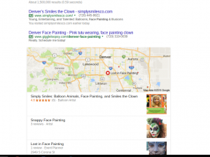Google search results for Denver entertainer face Painting
